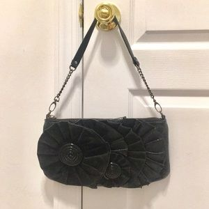 NINE WEST Suede and Patent Flower Purse